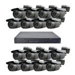 600TVL 16 Bullet Camera 20M IR Day Night CCTV System with Smart Phone Access